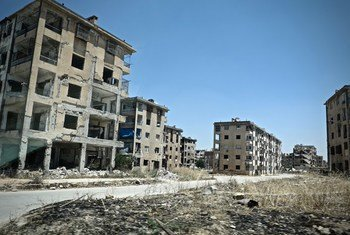 Destroyed buildings in eastern Aleppo city, Syria, where chemical weapons were allegedly used. (file photo)