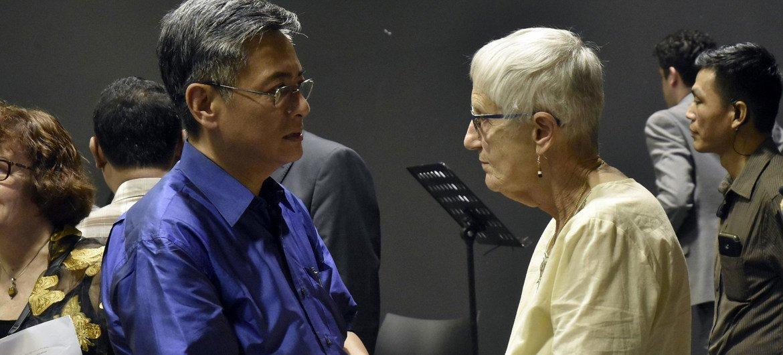 大屠杀幸存者瓦蕾德·卡特出席2019年仰光联合国新闻中心一年一度的缅怀大屠杀国际纪念日纪念活动。