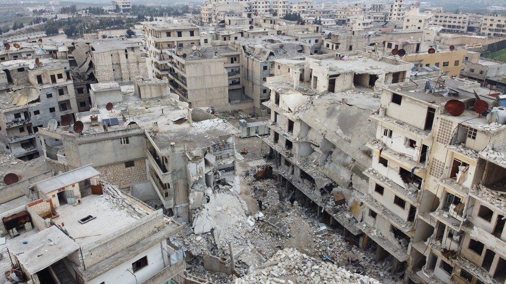 叙利亚西北部的许多城镇在冲突中被毁。