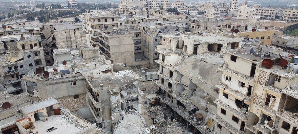 Vista aérea de la destrucción en la provincia siria de Idlib.