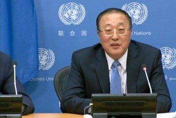 中国常驻联合国代表张军3月2日在纽约联合国总部召开了记者会,向各大媒体常驻联合国的记者通报了安理会本月的工作重点