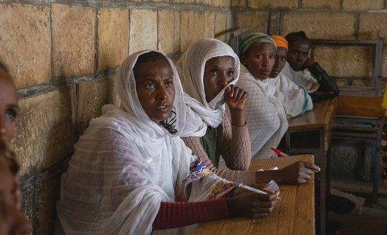 Displaced people in Adigrat town, in the Tigray region of northern Ethiopia.
