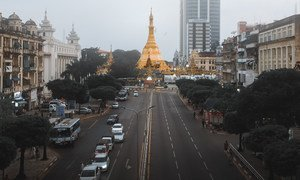 The Sule pagoda in downtown Yangon, the commercial hub of Myanmar.