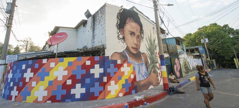 Murais em Cruz Roja, em San Salvador, capital de El Salvador