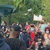 Des manifestants rassemblés à Union Square à New York pour demander justice et pour protester contre le racisme aux États-Unis après le meurtre de George Floyd
