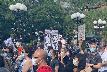 Des manifestants rassemblés à Union Square à New York pour demander justice et pour protester contre le racisme aux États-Unis après la mort de George Floyd alors qu'il était aux mains de la police (archive)