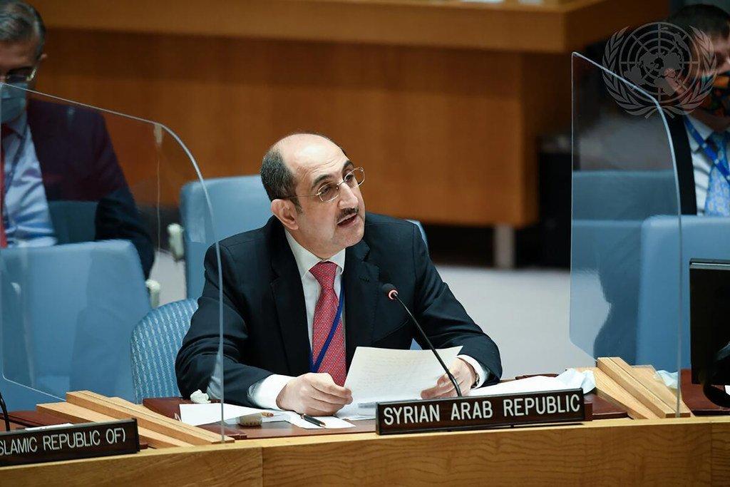 السفير السوري بسام صباغ، يلقي كلمة أمام اجتماع مجلس الأمن بشأن الحالة في الشرق الأوسط (سوريا).