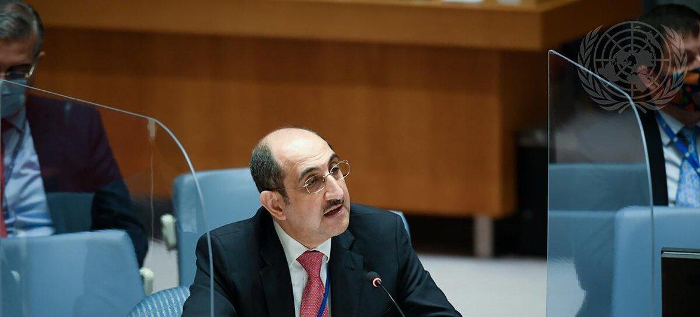 من الأرشيف: السفير السوري بسام صباغ، يلقي كلمة أمام اجتماع مجلس الأمن بشأن الحالة في الشرق الأوسط (سوريا).