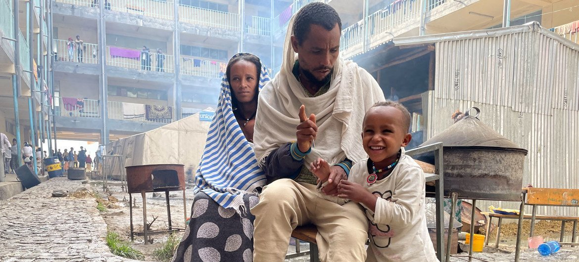 A family from Samre, in southwestern Tigray, walked for two days to reach a camp for displaced people in Mekelle.