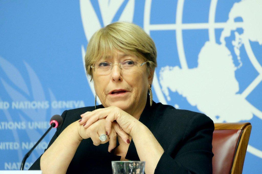 La Haut-Commissaire des Nations Unies aux droits de l'homme, Michelle Bachelet, devant la presse à Genève. (4 septembre 2019)