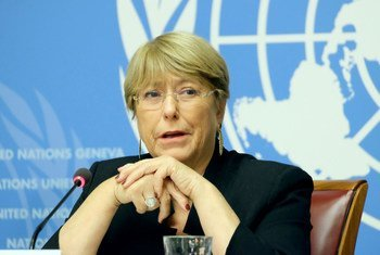 UN High Commissioner for Human Rights, Michelle Bachelet, briefs the press in Geneva. (4 September 2019)