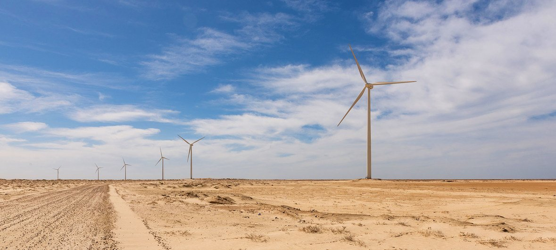 मॉरिटेनिया में एक पवन ऊर्जा पार्क का नज़ारा.