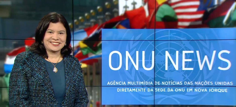 Monica Grayley apresenta Destaque ONU News nos estúdios das Nações Unidas em Nova Iorque