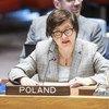 سفيرة بولندا لدى الأمم المتحدة، يوانا فروشينكا، خلال تقديمها إحاطة لمجلس الأمن بشأن تقرير الأمين العام حول السودان وجنوب السودان، والذي ركزت فيه عن الوضع في دارفور.