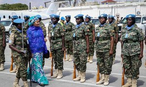 UN Deputy Secretary-General Amina Mohammed in Mogadishu with female peacekeepers of the UN Assistance Mission in Somalia (UNSOM).(23 October 2019)