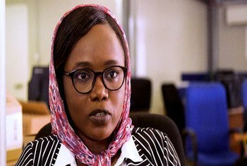 فاطمة جمعة خميس، مهندسة سودانية تعمل مع بعثة الأمم المتحدة في أفريقيا الوسطى.