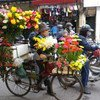 A woman selling flowers in Vietnam's tourist-laden Hanoi wears a mask to mitigate breathing in polluted air.