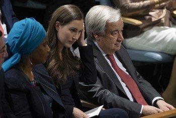 अंतरराष्ट्रीय महिला दिवस 2020 पर संयुक्त राष्ट्र मुख्यालय में एक कार्यक्रम में शिरकत करते हुए महासचिव एंतोनियो गुटेरेश