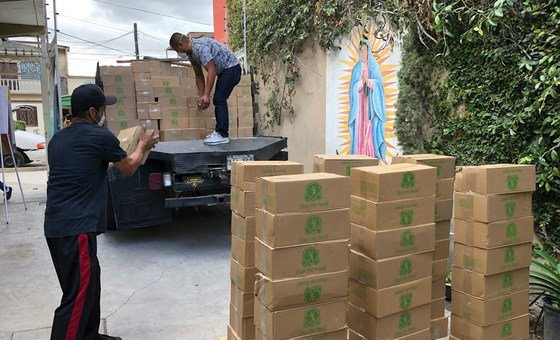Soap from the Clean The World Foundation is distributed for use by refugees and migrants sheltering in Tijuana, Mexico.
