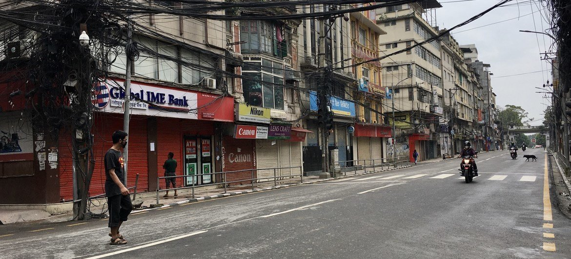 Deserted streets and closed shops during the COVID-19 lockdown in Kathmandu, Nepal.