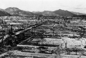 由于1945年8月投在日本城市的原子弹,广岛遭到了广泛的破坏。