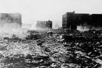 Hiroshima después de que Estados Unidos lanzara una bomba nuclear el 6 de agosto de 1945.