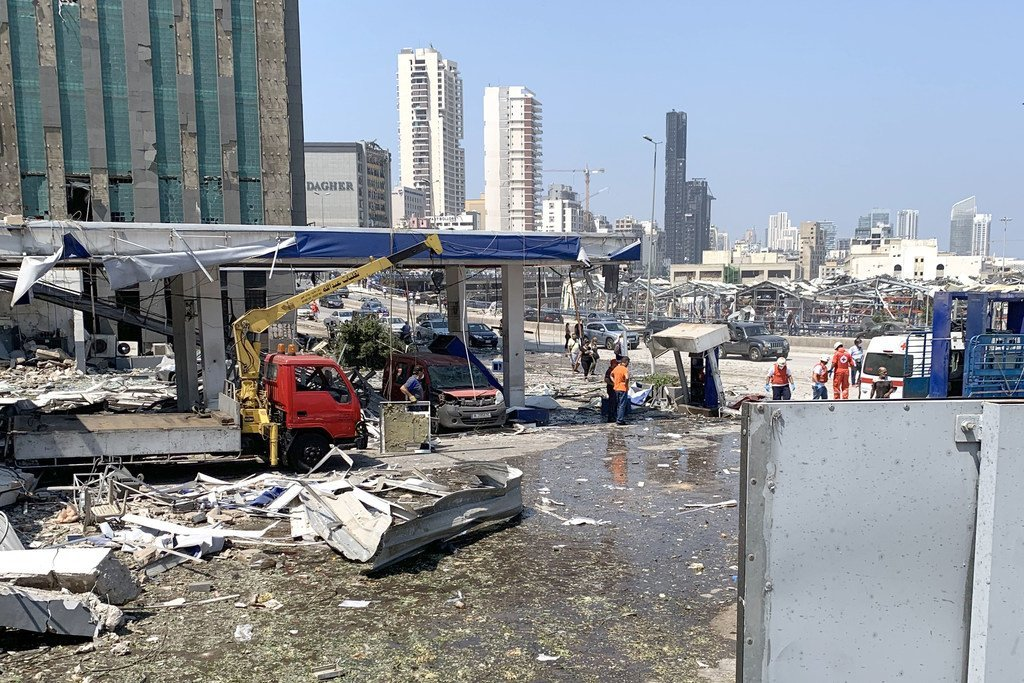 A gas station located closed to the port of Beirut after the blasts.
