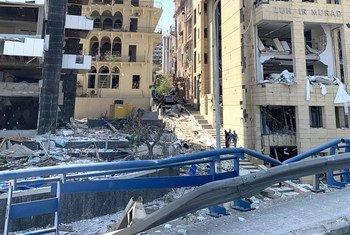 Une partie des dommages subis après les explosions à Beyrouth.