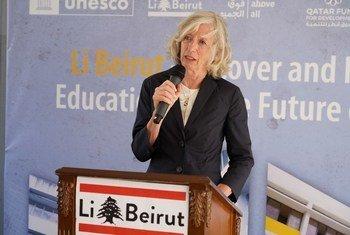 La sous-directrice générale de l'UNESCO pour l'éducation, Stefania Giannini, lors de sa visite à Beyrouth (3-5 août 2021).