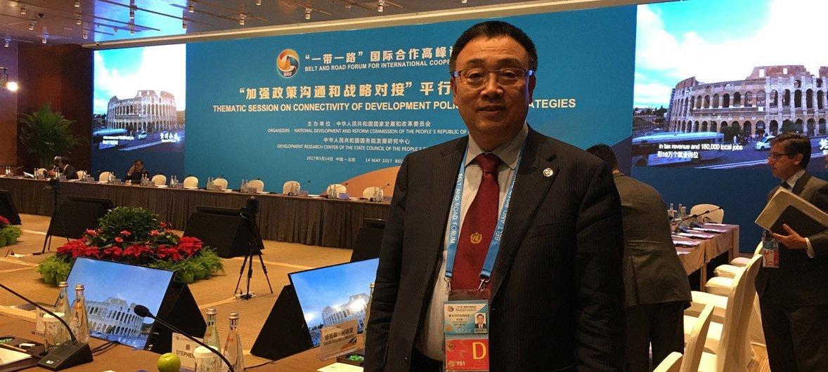 """世界气象组织助理秘书长张文建2017年在北京参加首届""""一带一路""""高级别论坛。"""