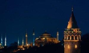 土耳其伊斯坦布尔夜景。