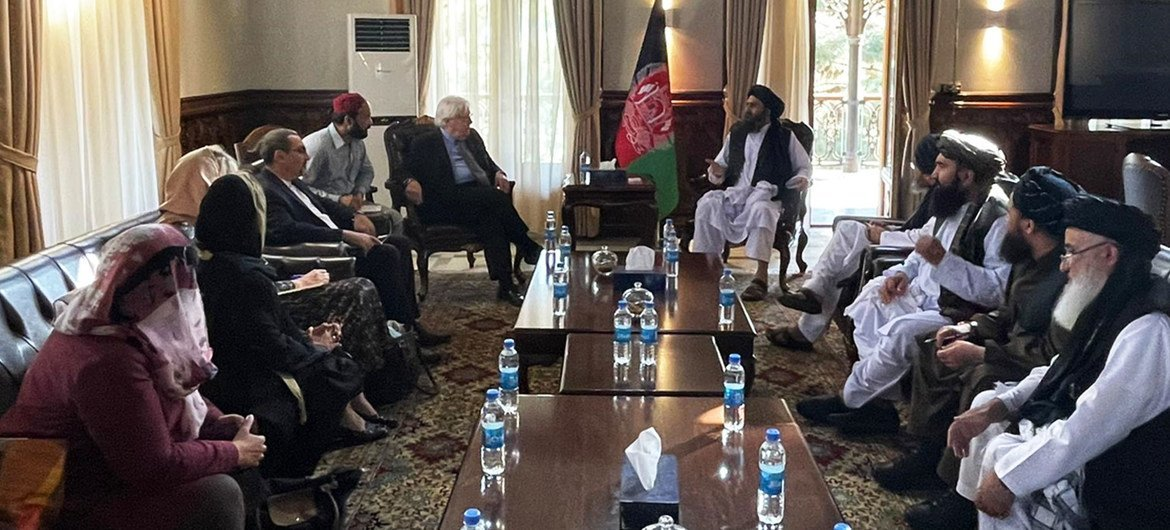 Martin Griffiths, Under-Secretary-General for Humanitarian Affairs and UN Emergency Relief Coordinator, discusses humanitarian issues with the enactment    of the Taliban successful  Kabul, Afghanistan.