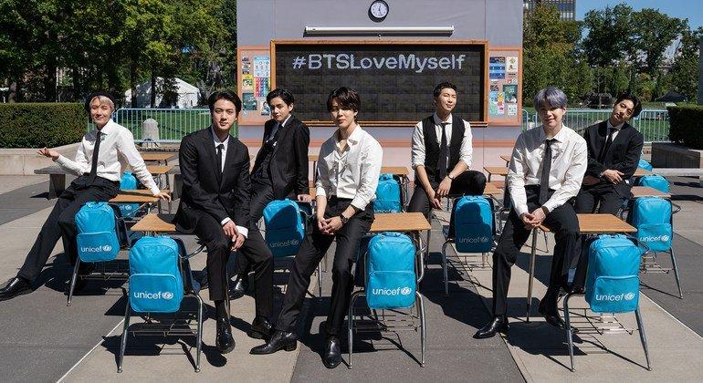 El grupo de K-Pop BTS apoya la campaña LOVE MYSELF de UNICEF.