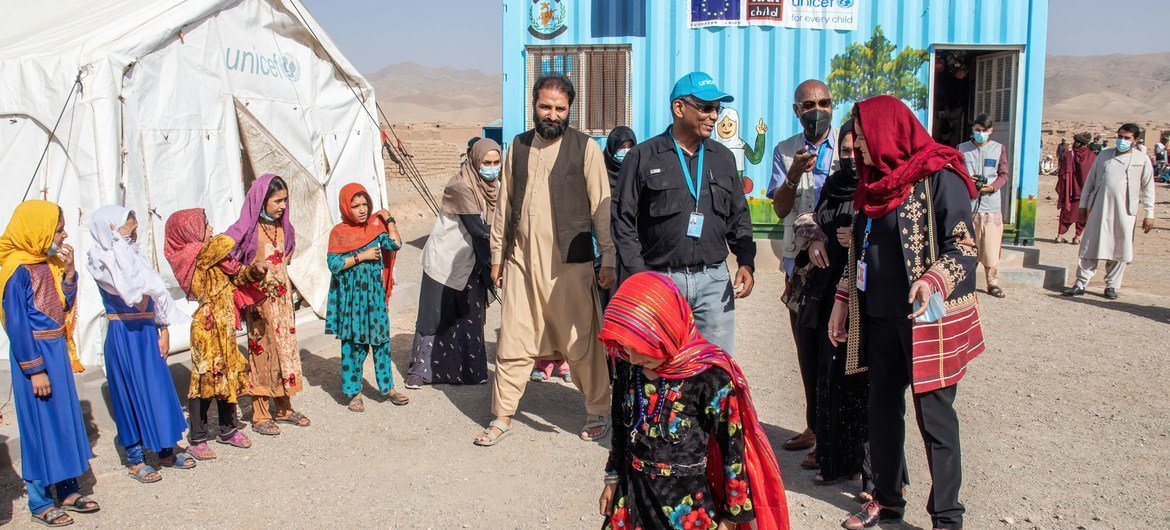 UNICEF officials visit a child friendly space at an IDP settlement in the outskirts of Herat city in Afghanistan.