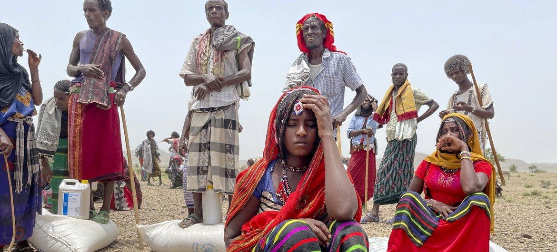 De la nourriture est distribuée dans la région d'Afar en Ethiopie.