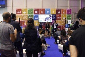 Stand do Pacto Global da ONU na Web Summit, em Lisboa, Portugal