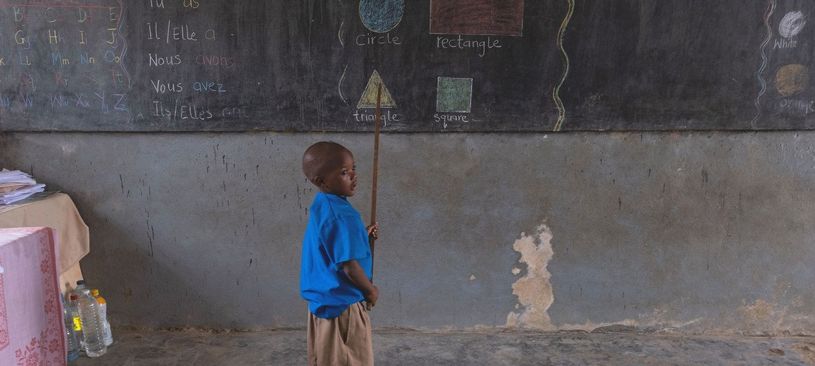 A child attends class at a UNICEF-supported government primary school, in Douala, Cameroon.
