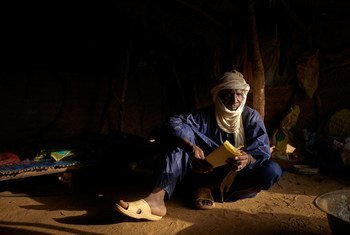 Abdou Salam Djibril, a displaced man from Tessit, in his tent at an informal camp near Gao in Mali.