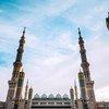 المسجد النبوي في المدينة المنورة بالمملكة العربية السعودية.