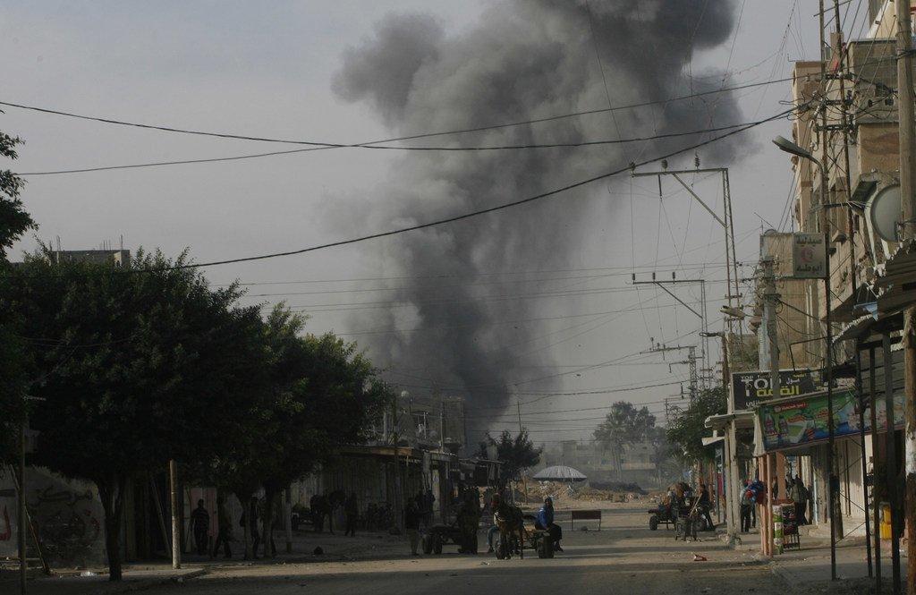 La fumée d'une frappe aérienne s'élève au-dessus de la ville de Rafah, dans le sud de la bande de Gaza (photo d'archive).