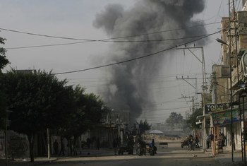 Smoke from an airstrike rises over the city of Rafah in southern Gaza Strip (file photo).