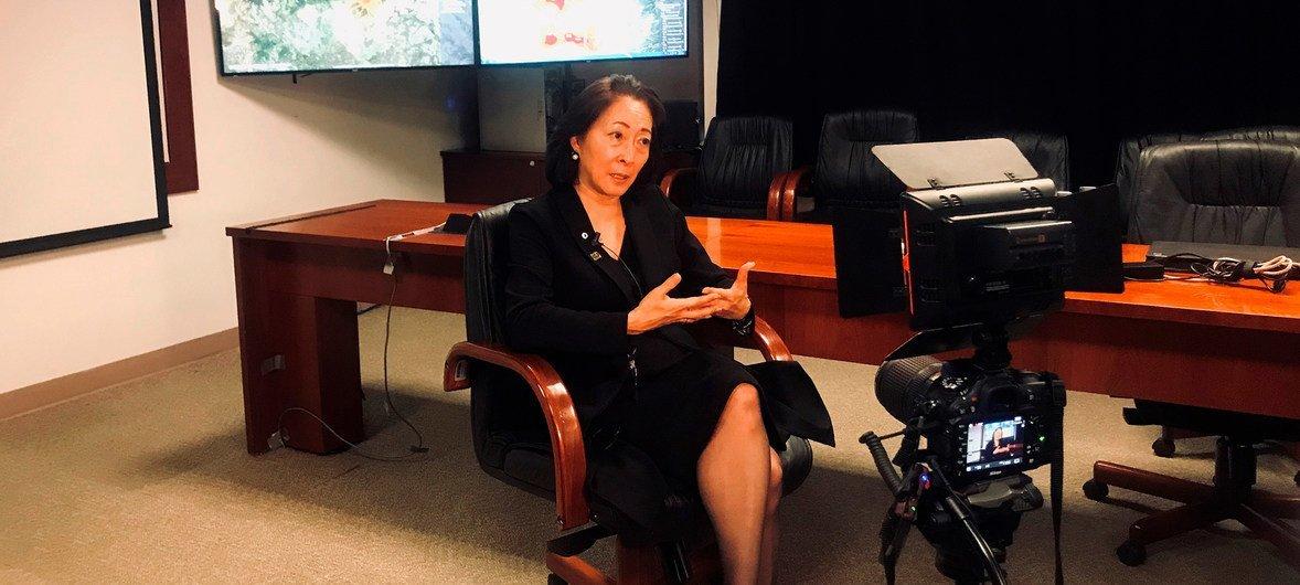 秘书长减少灾害风险特别代表水鸟真美(Mami Mizutori)在接受采访。(资料图片)