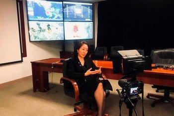 La representante especial del Secretario General para la reducción del riesgo de desastres, Mami Mizutori, durante su entrevista en la ciudad de México.