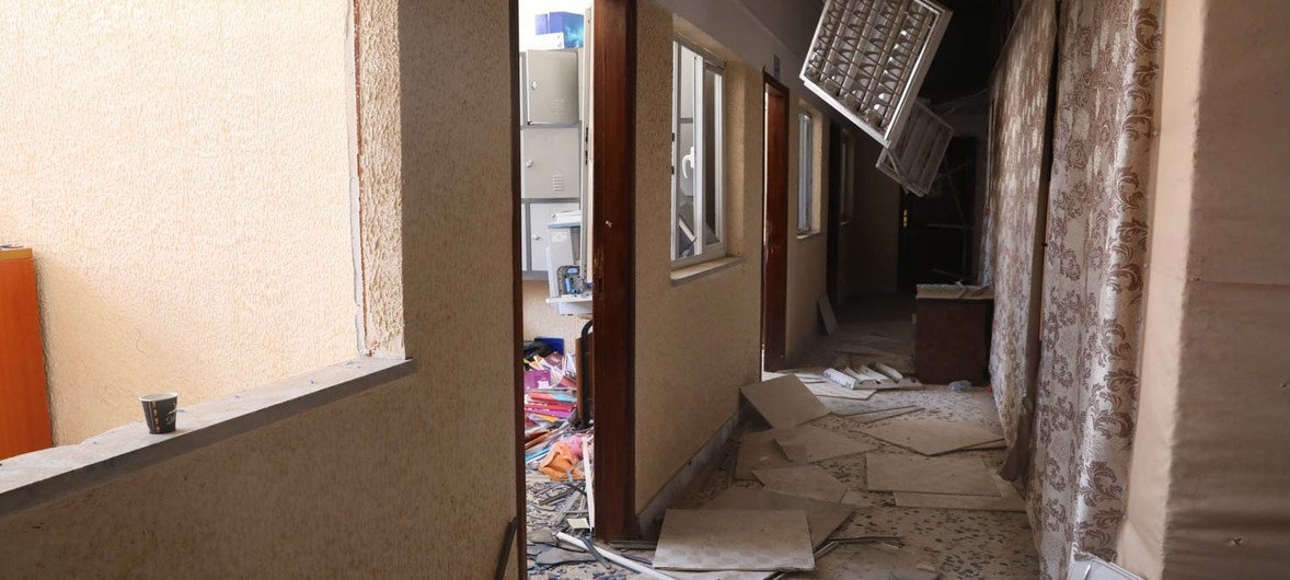 A Tripoli school, in the aftermath of an attack in January last year (file photo).