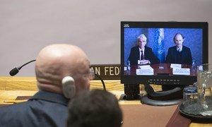 Le chef de l'humanitaire de l'ONU, Mark Lowcock (à gauche sur l'écran), et l'Envoyé spécial pour la Syrie, Geir Pedersen, font un exposé devant le Conseil de sécurité (photo d'archives).