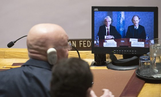 Mark Lowcock (left on screen), Under-Secretary-General for Humanitarian Affairs and Emergency Relief Coordinator, and Geir O. Pederson (right on screen), Special Envoy for Syria, brief the Security Council meeting on the situation in Syria.
