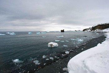 Vista aérea de derretimento de geleiras na Antártica.