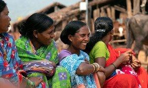 Women in a self-help group meeting in Bhatajhari Village, India.