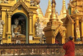 缅甸最神圣的佛塔仰光大金塔。