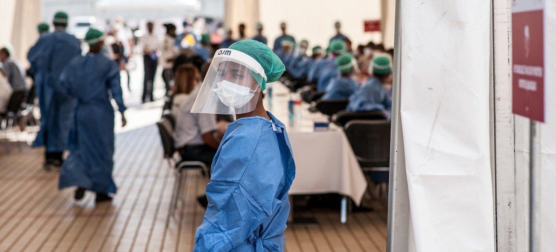 马达加斯加的一处新冠病毒检测点。